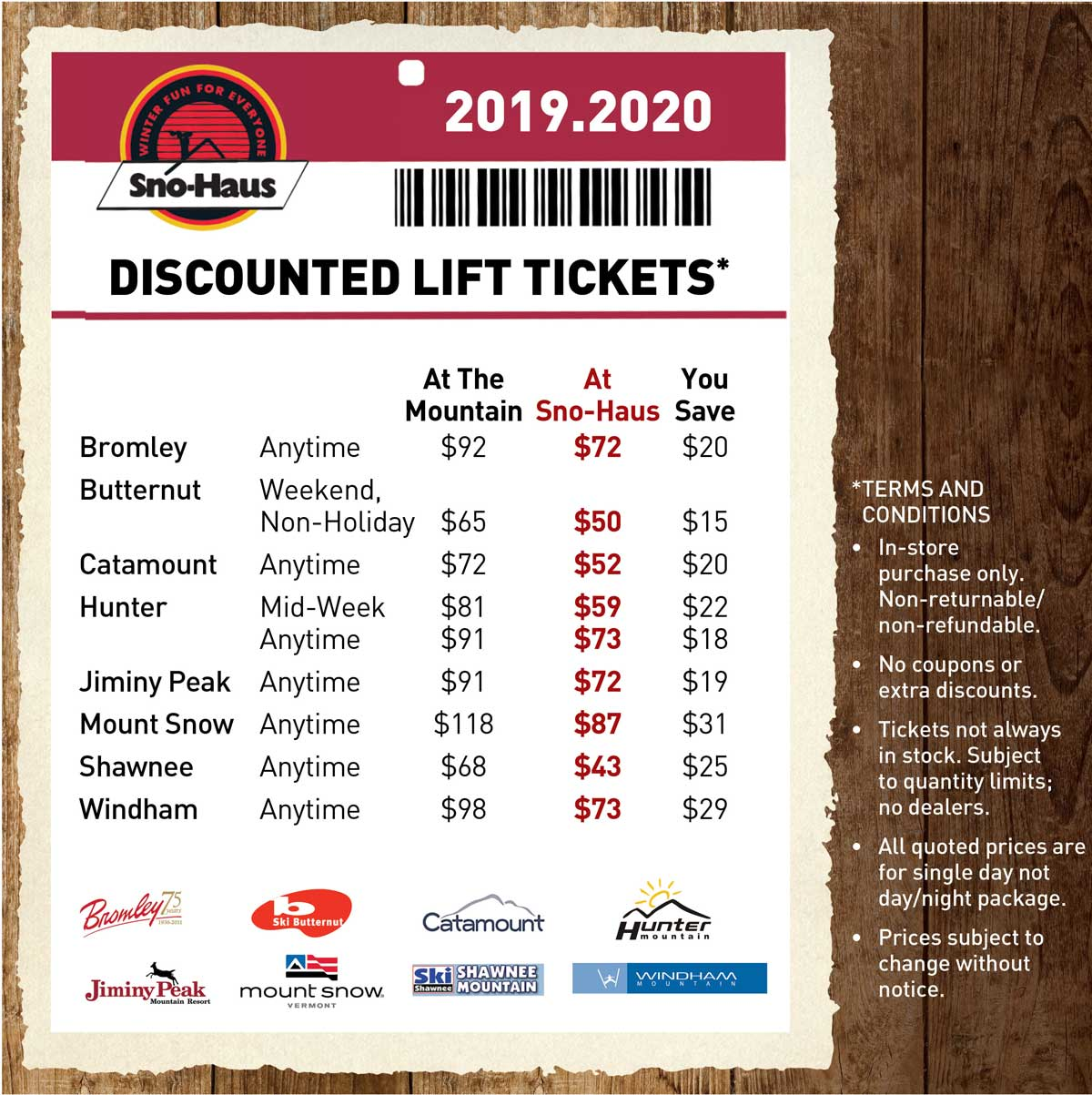 Sno Haus 2020 Discount Lift Tickets